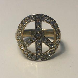 Coach rhinestone peace ring